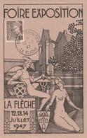 OBLIT. FOIRE EXPO. LA FLÈCHE 7/47 (Mercure/caducée/Nu) - Matasellos Conmemorativos