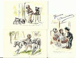 """3 CPA Germaine BOURET Illustrateur , """" Vertige """" """" Tu Te Trompe C'est Pas Marka """" """" Passons La Monaie"""" Enfants Et Chiens - Bouret, Germaine"""
