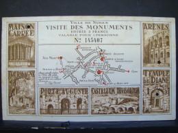Tic. 13. Ticket, Visite Des Monuments De La Ville De Nimes - Biglietti D'ingresso