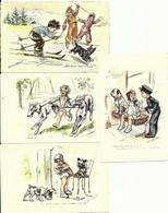 4 CPA Germaine BOURET Illustrateur , Enfants Et Chiens - Bouret, Germaine