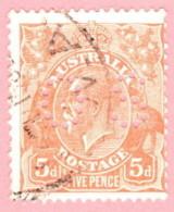 """AUS SC #OB75 U 1926 Official / 5p Small """"OS"""" WMK 203 CV $9.25 - Perfins"""