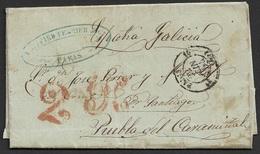 1854 Entire Liverpool To Puebla Del Caramiñal, Spain - Over France - Great Britain