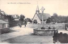 76 - POURVILLE ( Hautot-sur-Mer ) Eglise Et Croix ( Animation - Attelage âne ) CPA Village ( 1.945 H )  Seine Maritime - France