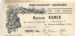 Facture 1941 / Val De Marne / Le PERREUX-sur-MARNE / Maison ROMER / Restaurant GEORGES - Francia