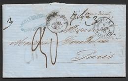 1862 LAC Roma, Stato Pontificio A Paris  - Poste Maritime - Etats Pontificaux