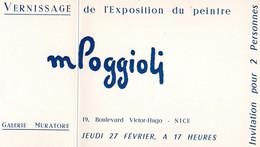 INVITATION - VERNISSAGE DE L'EXPOSITION DU PEINTRE MPOGGIIOLI-GALERIE MURATORE  NICE  27 FEVRIER 1958 - Mapas