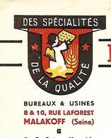 Facture 1952 / Hauts De Seine / MALAKOFF / Biscuiterie Des Délices - Francia