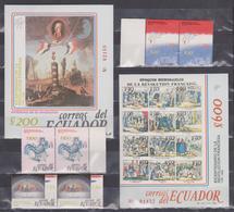 ECUADOR 1989 FRENCH REVOLUTION BICENTENARY 2 SOUVENIR SHEETS + 3 STAMPS PAIRS SC# 1211-1215 - Ecuador