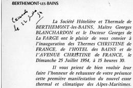 INVITATION -BERTHEMONT LES BAINS - Sété HOTELIERE ET THERMALE -INAUGURATION DES THERMES DE FRANCE, JUILLET 1954 - Cartes