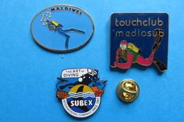 Lot De 3 Pin's, Plongée,Maldives,Tauchclub Mediosub,Subex Diving - Diving