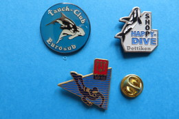Lot De 3 Pin's, Plongée, Happy Dive,Eurosub,SUSY FSSS - Diving