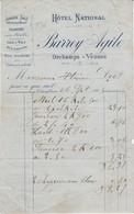 Petite Facture 1905 / BARREY Agile / Hôtel National / Jambon Salé D' Orchamps Vennes / Croûte Aux Morilles / 39 Jura - Francia