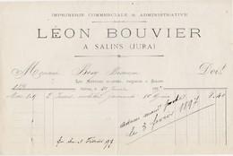 Facture 1897 / Léon BOUVIER / Imprimerie / 39 Salins Jura - Francia