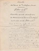 Facture 1908  / Assemblée Générale Des Usines De Vuillafans / PEKER & Cie / 25 Vuillafans Doubs - Francia