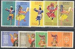 Bhutan 22-30 Bhutanese Dancers, Neuf** Sans Charniere, Scott 15-23 - Bhutan