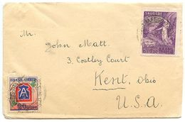 Brazil 1945 Cover Santos To Kent OH W/ Scott 628 - Victory & 635 - US 5th Army - Brazil