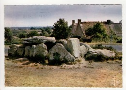 CP 10*15-L1320-CARNAC DOLMEN DE KERMARIO  ET VIEILLE CHAUMIERE 1963 - Carnac