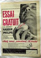 """{10487,29} Publicité """" Philips , Rasoir """", Du Paris Match N° 558 (1959).  """" En Baisse """" - Pubblicitari"""