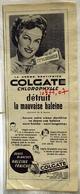 """{10477,07} Publicité """" Colgate """", Du Paris Match N° 222 ( 1953). """" En Baisse """" - Pubblicitari"""
