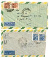 Brazil 1946-47 2 Airmail Covers Santos & Pará To New York, NY - Brazil