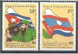 1989 LAOS 925-26** Cuba, Castro, Drapeau - Laos