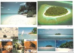 Maldiven - Maldives - 4 Cards - Islands Views - Kuramathi - Male Atoll - Nice Stamps - Maldiven