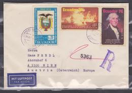 ECUADOR 1976 REGISTERED COVER TO WIEN AUSTRIA USA BICENTENARY G. WASHINGTON SET COAT OF ARMS + 2 ART BACK SC# C589/C590 - Indépendance USA