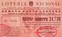 LOTERIA NACIONAL 22/12/1951- N°34.759  LEON - Biglietti Della Lotteria