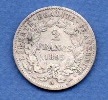 Cérès   - 2 Francs   1895 A  -  état  TTB - France