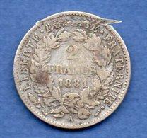 Cérès   - 2 Francs   1881 A  -  état  TB - France