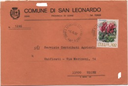 Buste Comuni D'Italia: Ciclamino £. 300 Su Busta Comune Di San Leonardo (Udine) 07.05.1982 - 6. 1946-.. Republic