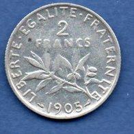 Semeuse   - 2 Francs  1905  -  état  TB - France