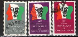 COSTA D'AVORIO - 1981 - ELEFANTE . BANDIERA E MAPPA - USATI - Costa D'Avorio (1960-...)