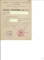 CERTIFICAT D'APPARTENANCE AUX F.F.I. - Documents