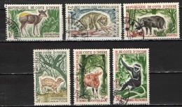 COSTA D'AVORIO - 1963 - ANIMALI - ANIMALS - RINOCERONTE - ANTILOPE - SCIMMIA - USATI - Costa D'Avorio (1960-...)