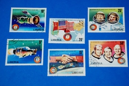 Space USA-Soviet Apollo Soyuz Spacecraft Astronaut Complete Set Of 6 Liberia - Collections
