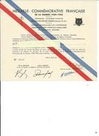 CERTIFICAT MÉDAILLE COMMÉMORATIVE FRANÇAISE 39-45 - Documents