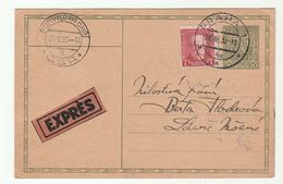 1930 EXPRESS UPRATED Postal  STATIONERY CARD Praha Budyne Nad Ohri Cover Czechoslovakia Stamps Express Label - Covers & Documents
