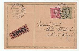 1930 EXPRESS UPRATED Postal  STATIONERY CARD Praha Budyne Nad Ohri Cover Czechoslovakia Stamps Express Label - Czechoslovakia