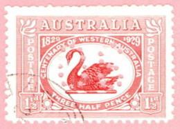 "AUS SC #OC103 U 1930 Official / Black Swan Medium  ""OS"" W/flts CV $13.00 - Perfins"
