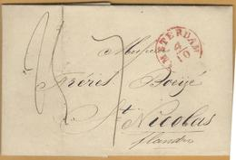_6Rv-957: Volledige Brief: 115 Mm X 75 Mm: AMSTERDAM 4/10 > St.NICOMAS 5 OCT 194453 > ST. NICOLAS - 1830-1849 (Belgique Indépendante)