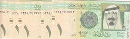 SAUDI ARABIA 1 RIYAL 2012 P-31c  KING Abd ALLAH UNC LOT X5 NOTES */* - Saudi Arabia