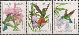 BRAZIL - COMPLETE SET BRAPEX VIII: HUMMINGBIRDS AND ORCHIDS 1991 - MNH - Hummingbirds
