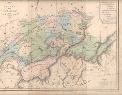 1844  Carte De Suisse Et Cantons Ex: Nouvel Atlas De Géographie Moderne Hachettee - Landkarten