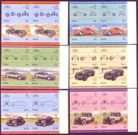 NEVIS 1985 Old Cars Part IV MARG.IMPERF. Se-tenant 4-BLOCKS:6 (24 Stamps) - St.Kitts And Nevis ( 1983-...)