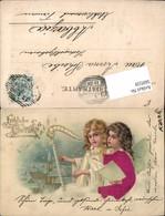 569559,Präge Lithographie Seidenapplikation Seiden AK Ostern Engel Harfe - Ostern