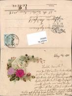 569561,Präge Lithographie Seidenapplikation Seide Seiden AK Taube Brieftaube - Ostern