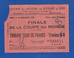 Ticket Coupe Du Monde Rugby 1954 Paris  Parc Des Princes  ANGLETERRE FRANCE ( TTB TENUE ) Ti 1201 - Biglietti D'ingresso