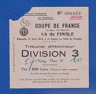 Ticket Football   1955  Colombes LILLE Bat TOULOUSE  Tribune D'honneur   ( TTB TENUE ) Ti 1201 - Tickets - Vouchers