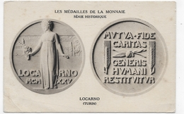 LES MEDAILLES DE LA MONNAIE - LOCARNO - TURIN - PLI BAS A GAUCHE - CPA  VOYAGEE - 75 - Coins (pictures)